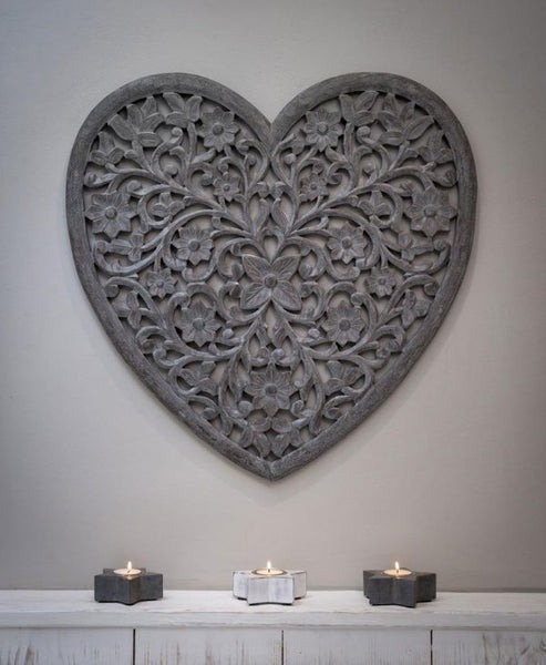 Large Grey Heart Wall Panel