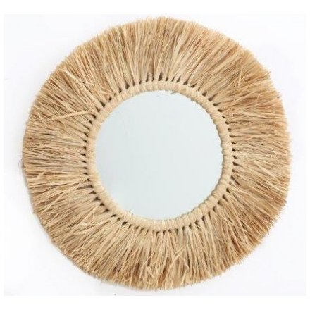 Large Dried Grass Round Mirror