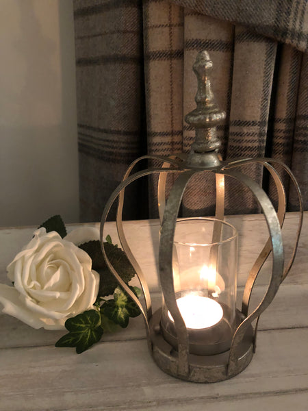 Rustic metal crown candle holder