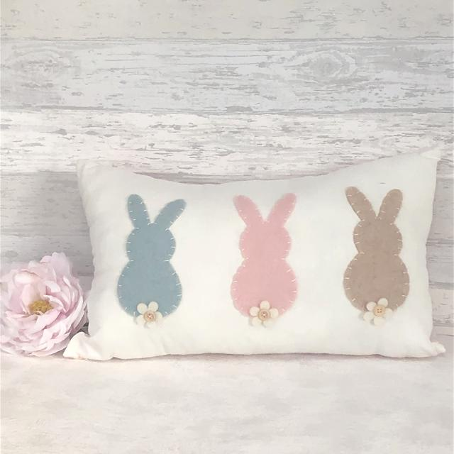 Easter Bunny Rabbit Cushion White