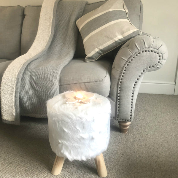 White Fluffy Stool