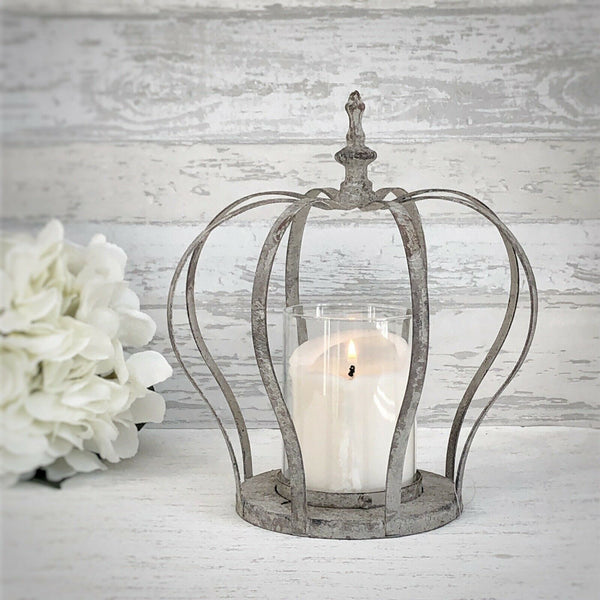 Grey Crown Candle Holder Large