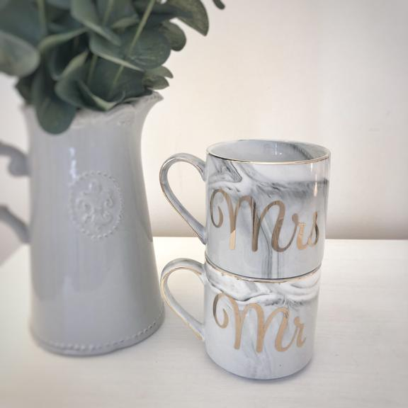 Mr and Mrs Stacking Mugs Marble