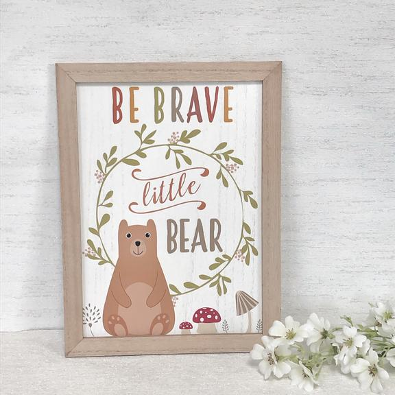 Nursery wall art Be a Brave Bear framed
