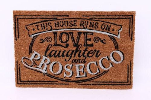 This home runs on prosecco & laughter doormat