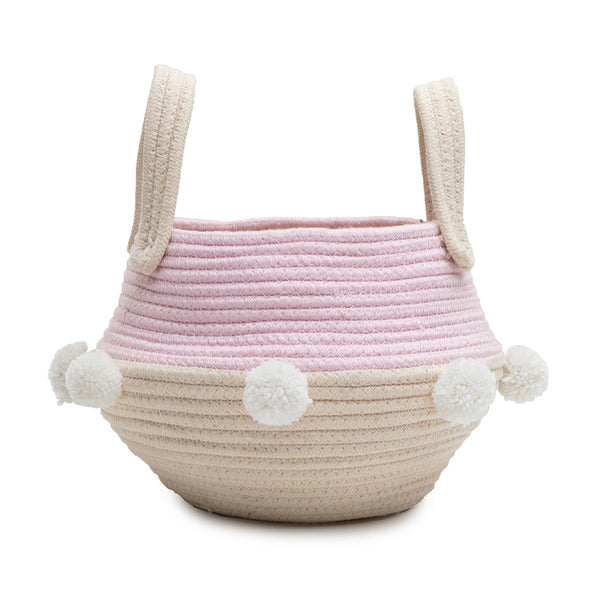 Pink Cream storage basket Pom Pom girls