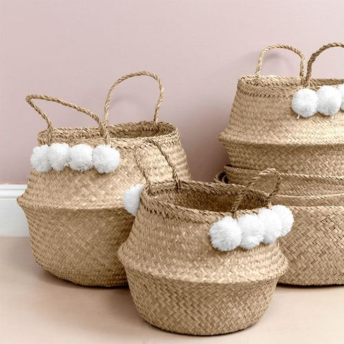 Storage Basket Seagrass White Pom Pom