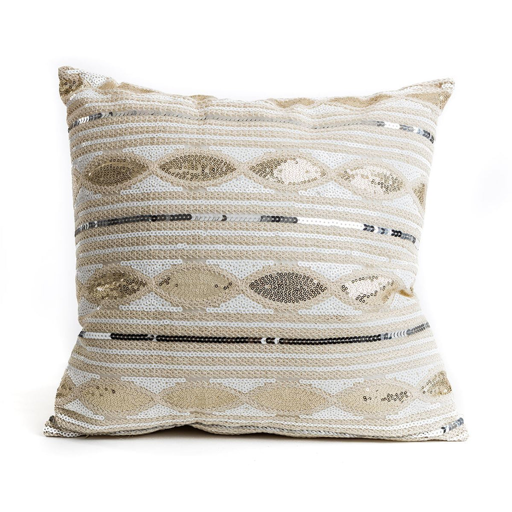 Gold  Sequin Aztec Pattern Cushion