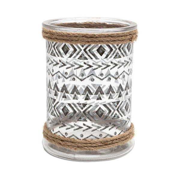 aztec Scandinavian cylinder candle holder glass pattern