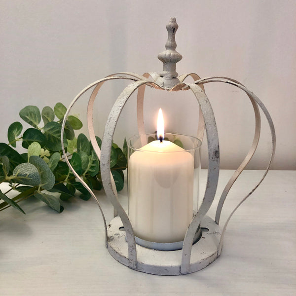 Large Cream Crown Candle Holder