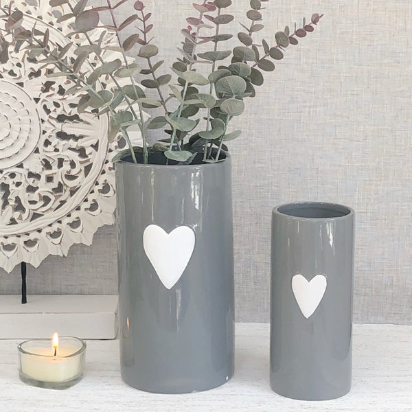 Set of 2 Grey Heart Vases