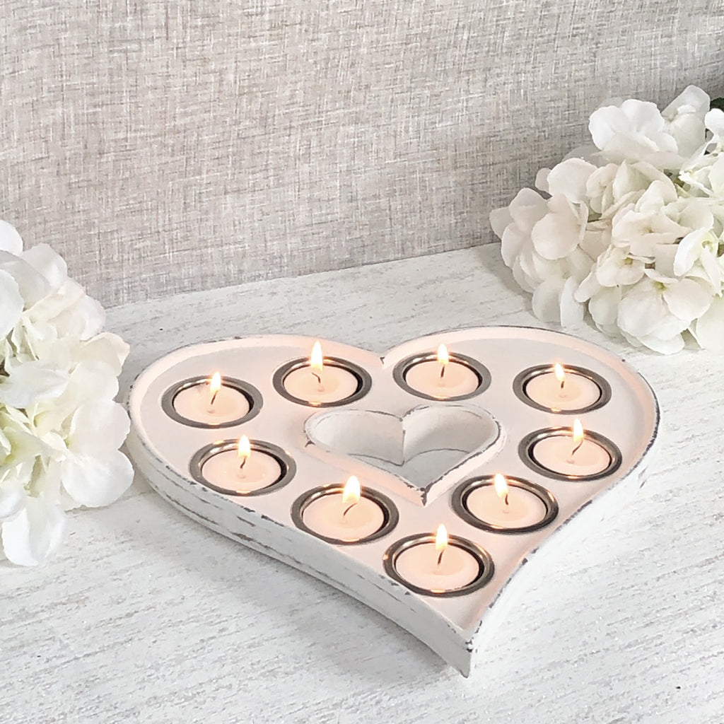 White Heart Shaped Candle Holder