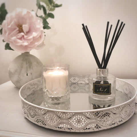 White Shabby Chic Mirroed Candle Tray