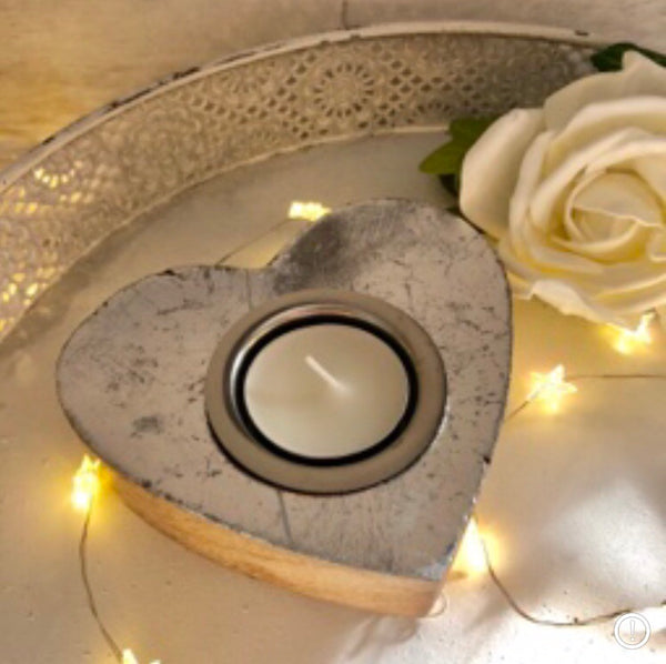 Heart sliver tea light candle holder