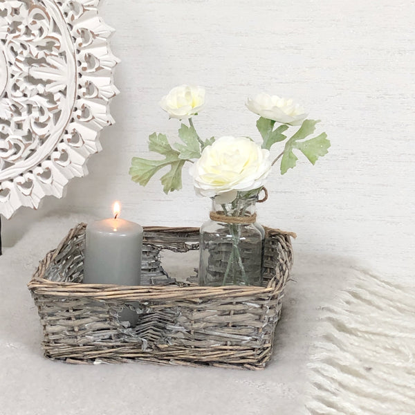 Grey whitewashed wicker basket
