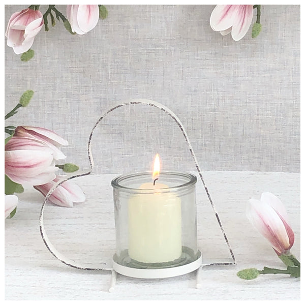 White Heart Candle Holder