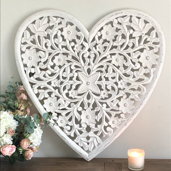 Large Heart Wall Panel White