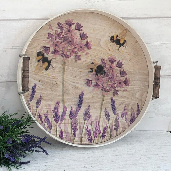 Large Round Bee Serving Tray