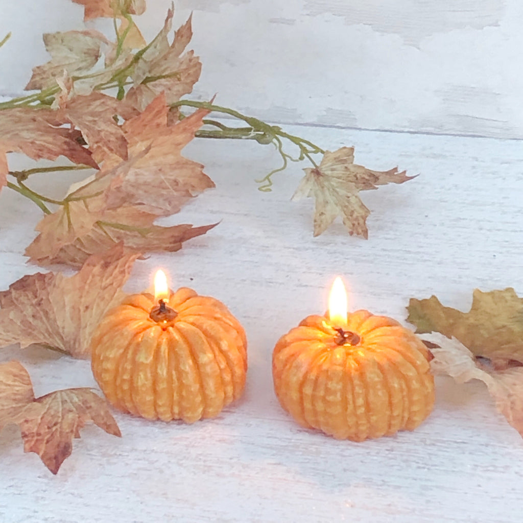 Pumpkin candles set of two