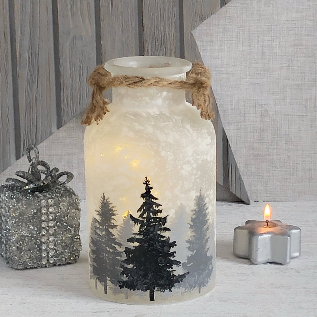 LED Woodland Frosted Jar