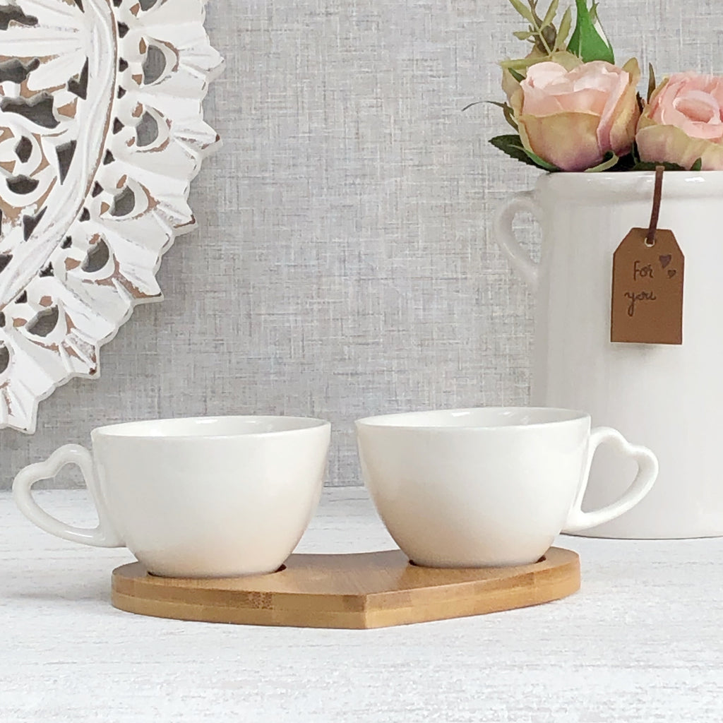 Pair of Double Espresso Cups on Heart Tray