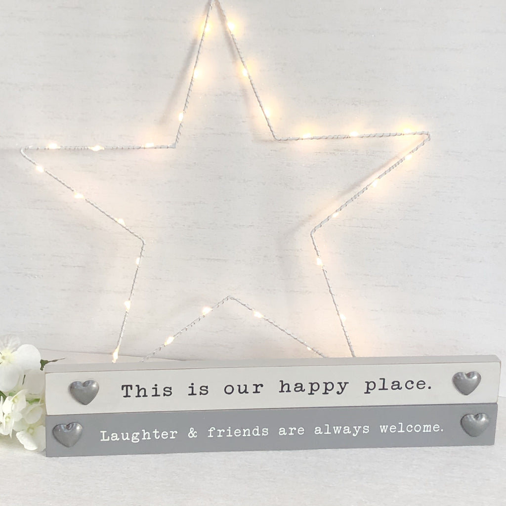Wooden block signs - Happy Place/Laughter & Friends