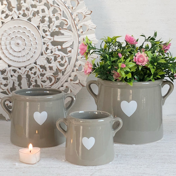 Grey with white Heart Pots