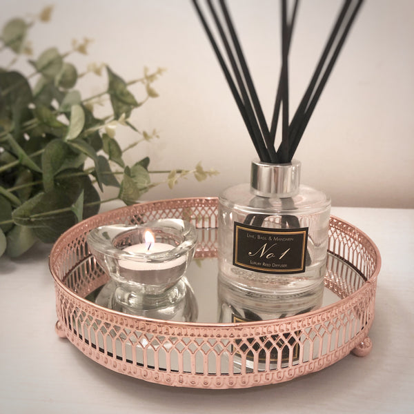 Copper Candle Tray Glass Small & Large
