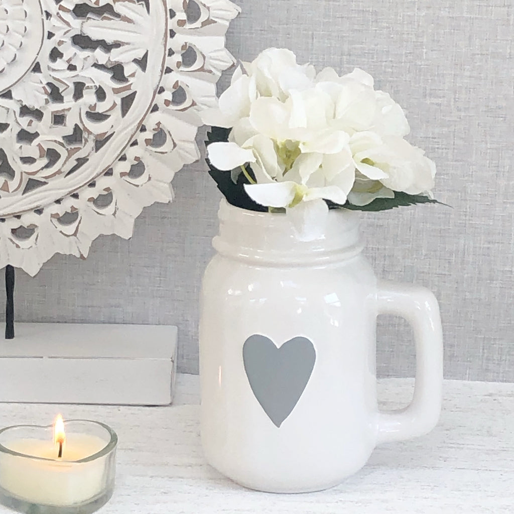 White Mason Jug with Grey Heart