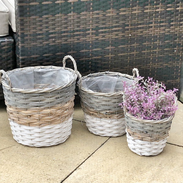 Wicker Plant Pots set of 3 planters
