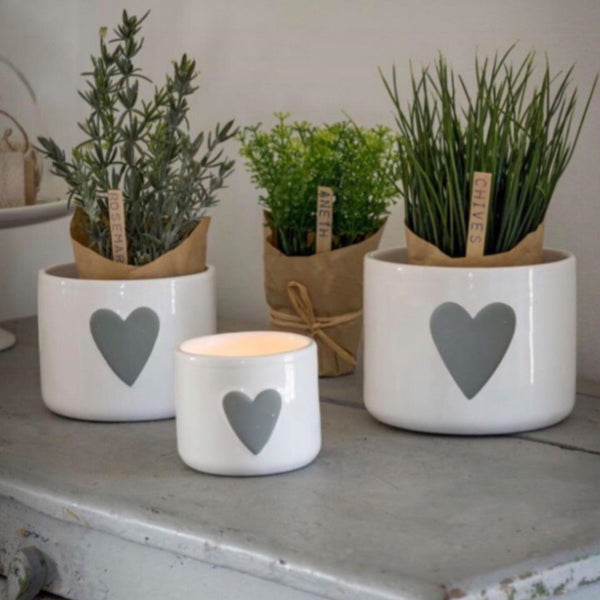 White Grey Heart Pot set of 3