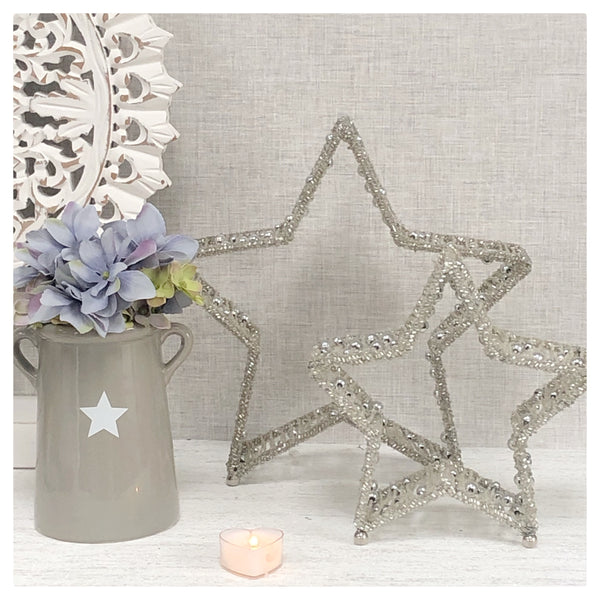 Set of 2 Beaded Stars - Silver