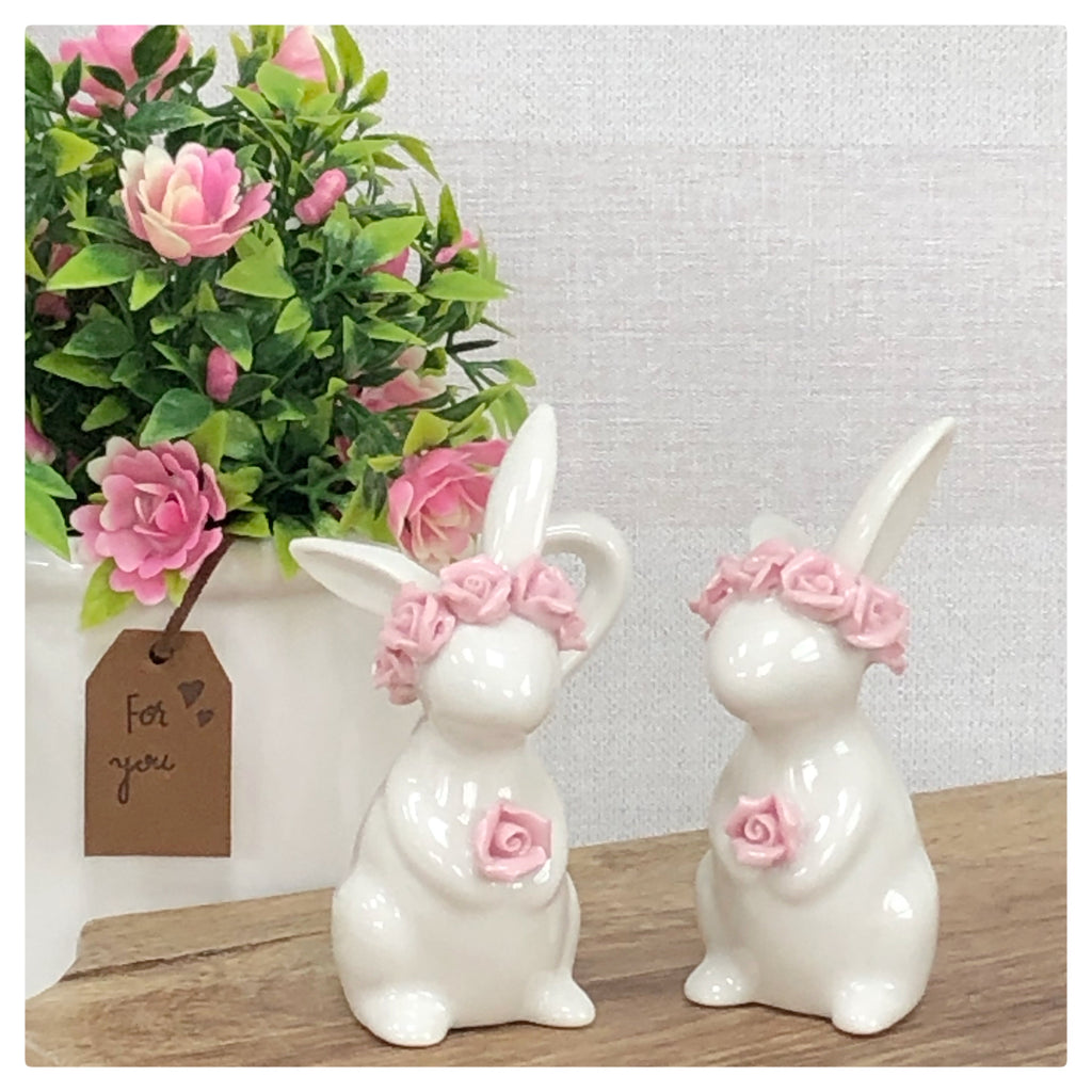 White bunnies with pink floral headband