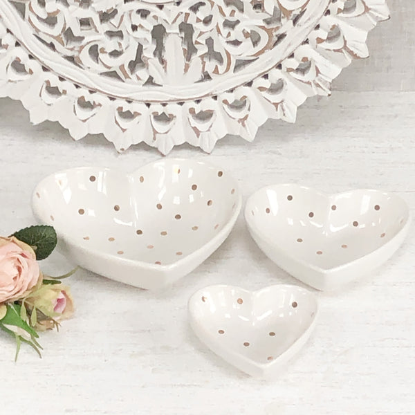 Set of 3 Heart Snack Dishes