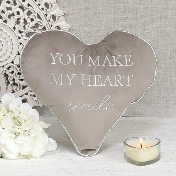 Grey Heart Cushion -You Make My Heart Smile