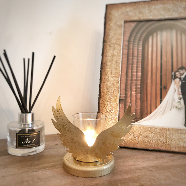 Gold Angel Wing Tea Light Candle holder