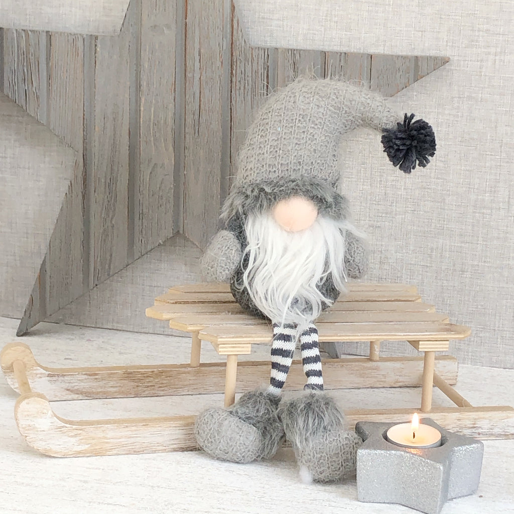 Grey Santa Gonk with bobble hat