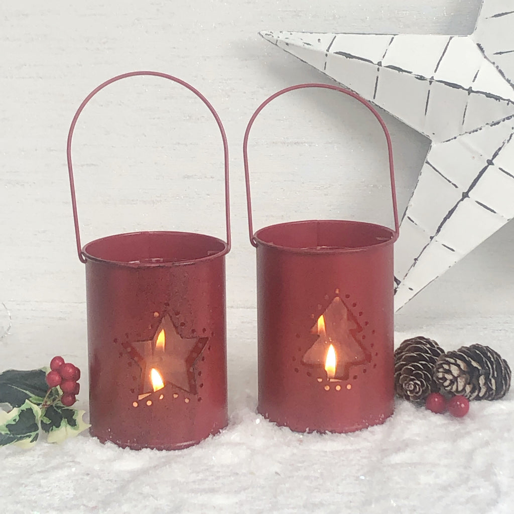 Red Christmas tea light lanterns