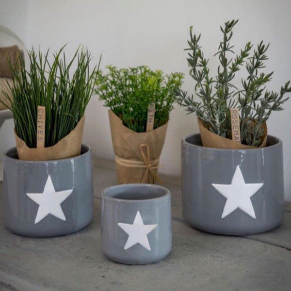 Grey and White Star Plant Pots
