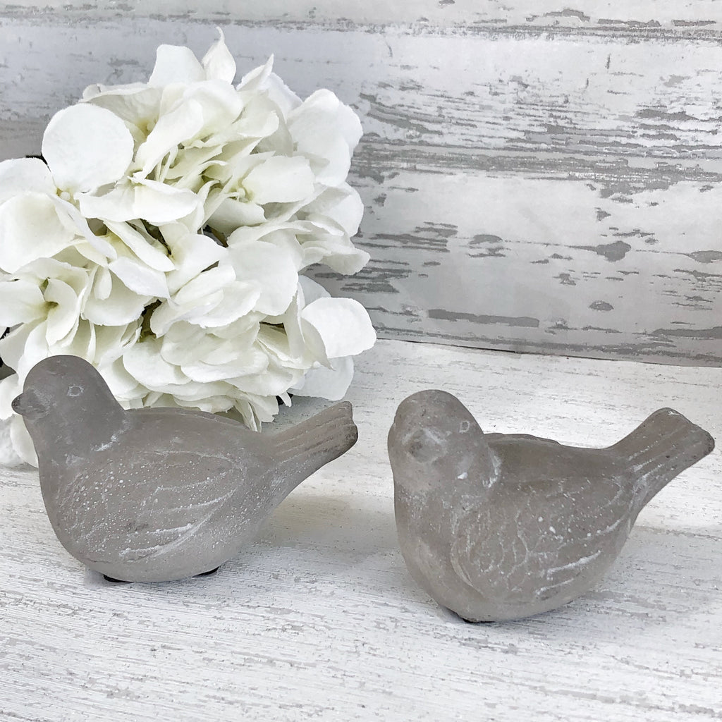 Stone Grey Birds - set of 2