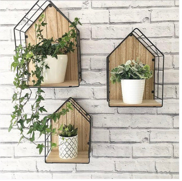 Wood House Shaped Shelves Unit Black Wire