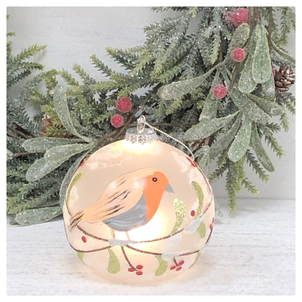 Large Robin light up bauble