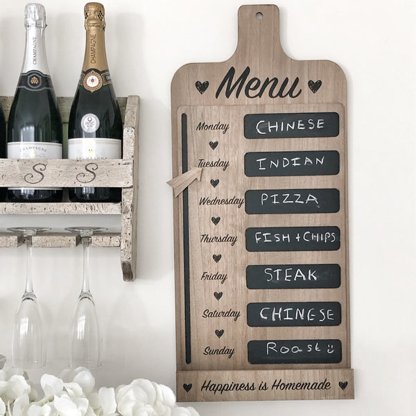 Menu chalkboard weekly meal planner