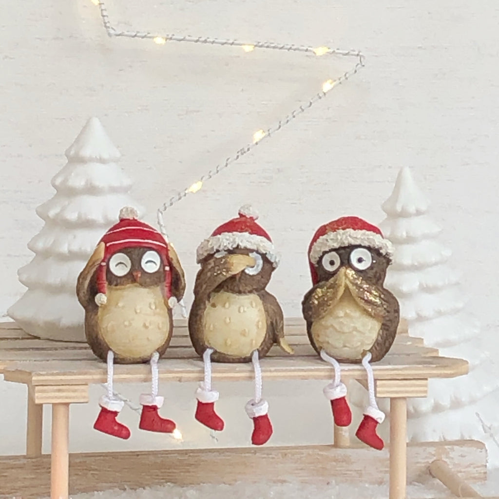 Set of 3 Christmas Owls