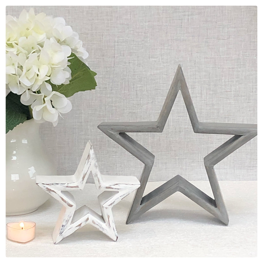 Set of 2 Grey and White Stars