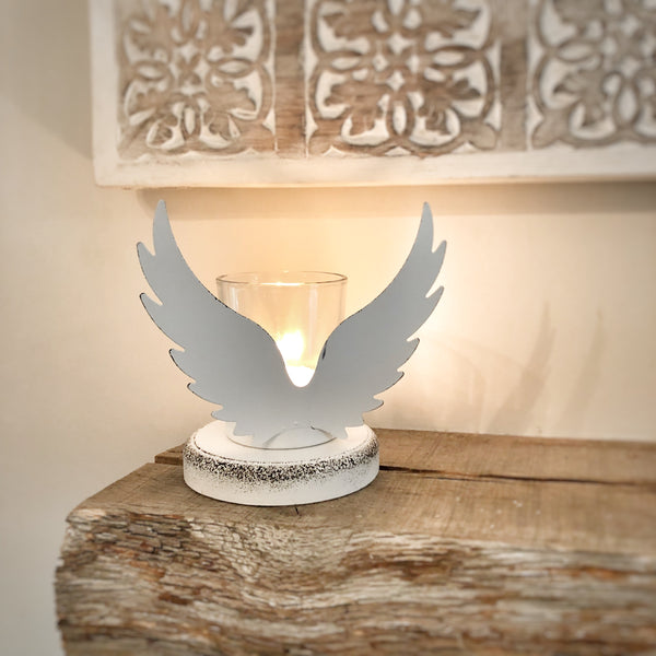 White Angel wing tea light holder