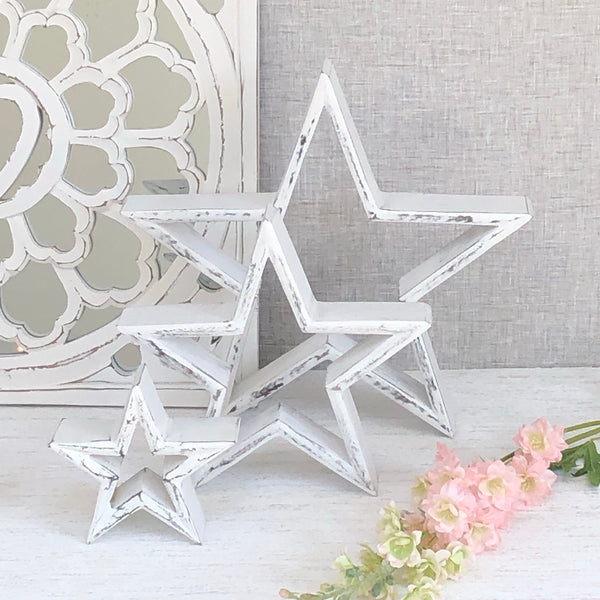 White Wooden Star small medium large