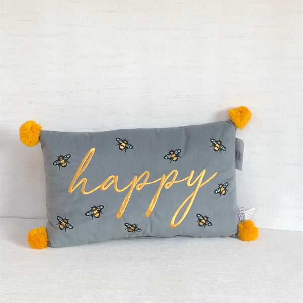 Bee cushion happy grey yellow