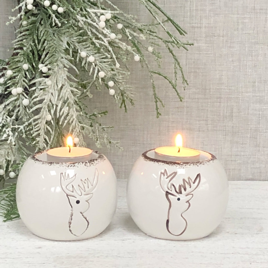 Set of 2 Reindeer t-light candle holders
