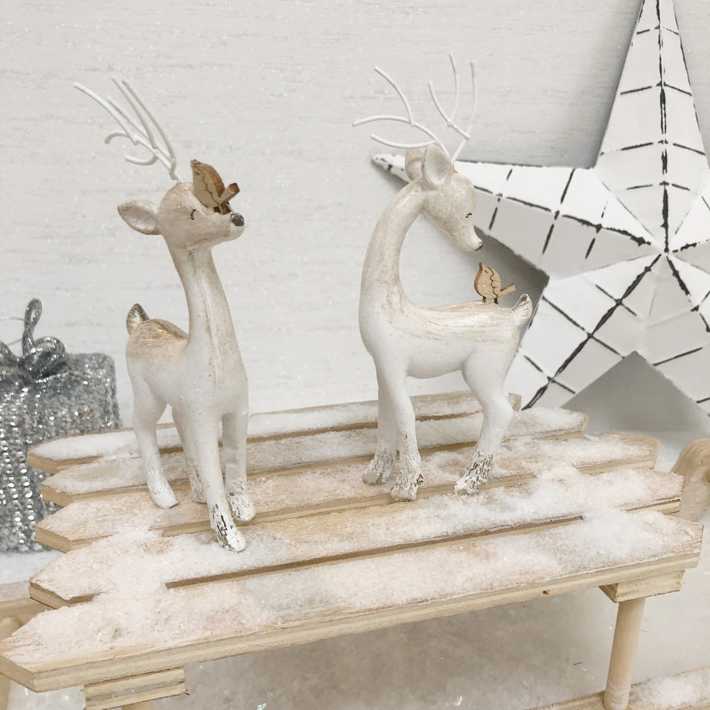 Pair of White Reindeer